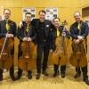 Thilo Andersson mit den Vier EvangCellisten (mit Alexey für den verhinderten Lukas) nach dem 'Cellism-Release-Konzert' innerhalb der