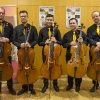 Sebastian Chong mit den Vier EvangCellisten (mit Alexey für den verhinderten Lukas) nach dem 'Cellism-Release-Konzert' innerhalb der