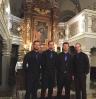 Die Vier EvangCellisten (mit Florian für den verhinderten Lukas) nach dem Konzert in Schwarzenbach an der Saale (Stadtteil Hallerstein) 2016. (Foto: Dominik Schaefer, Archiv)